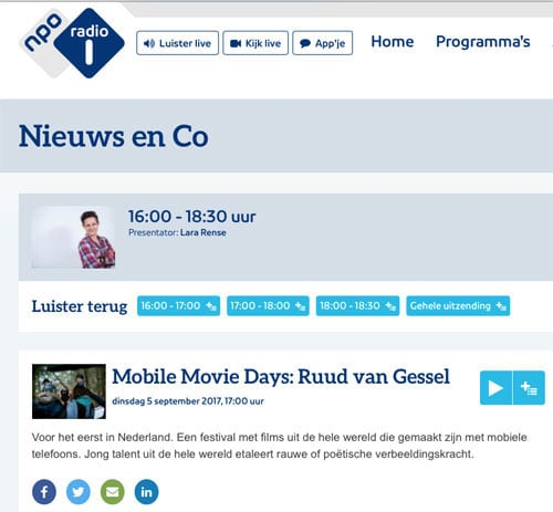 NPO Radio 1 Mobile-Movie Days interview